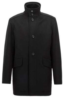 BOSS Hugo Relaxed-fit car coat in virgin wool & cashmere 36R Black