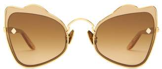 Atelier Moy Odyssey Butterfly 18kt Gold Plated Sunglasses - Womens - Brown