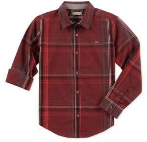Calvin Klein Jeans Boy's Plaid Woven Button-Down Shirt