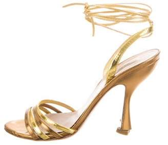 Miu Miu Metallic Wrap-Around Sandals Gold Metallic Wrap-Around Sandals