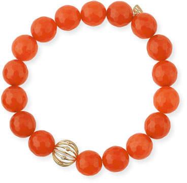 Sydney Evan Orange Agate Beaded Bracelet with Diamond Bezel Ball