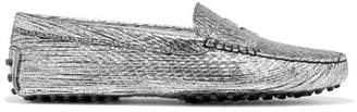 Tod's Gommino Metallic Textured-leather Loafers - Silver