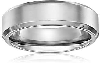 Titanium 7mm Comfort Fit Wedding Band with Satin Center and High Polished Beveled Edges