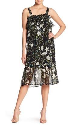 Bobeau Tropical Print Chiffon Midi Dress