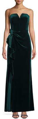 Aidan Mattox Strapless Ruched Velvet Formal Gown Dress