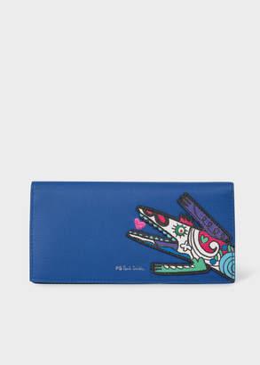 Paul Smith Women's Blue 'Karami Crocodile' Applique Folded Leather Wallet