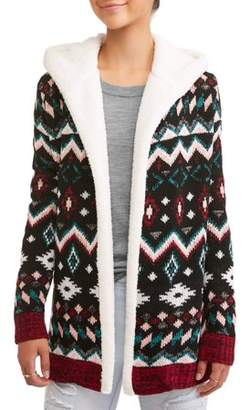 No Boundaries Juniors' Tribal Printed Hooded Sherpa Fleece Lined Open Front Cardigan
