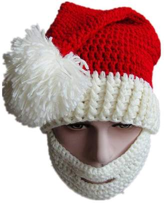 ad5c1775ad3bc3 BIBITIME Christmas Knitted Crochet Santa Beanie Hat with Retractable Beard  Mask ( White for Kids Boys