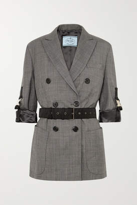 Prada Belted Double-breasted Checked Wool Blazer - Gray