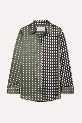 Asceno ASCENO - Polka-dot Silk-satin Pajama Shirt - Army green