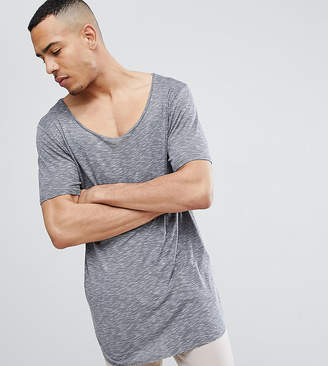 Asos DESIGN Tall relaxed super longline t-shirt with curved hem and scoop neck in twisted jersey
