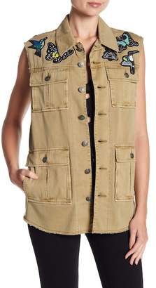 Cinq à Sept Canyon Beaded Patch Cargo Vest