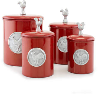 Old Dutch International Red Rooster Canisters, Set of 4