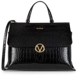 Crocodile Embossed Leather Top Handle Bag