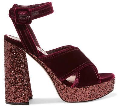 Miu Miu - Glittered Velvet Platform Sandals - Burgundy