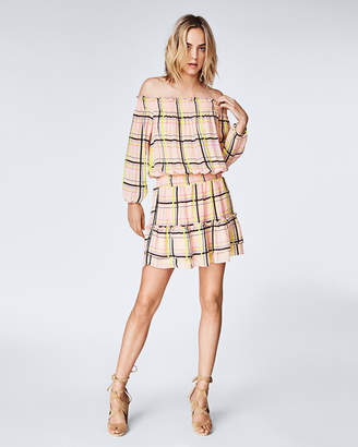 Nicole Miller Electric Plaid Smocked Dress
