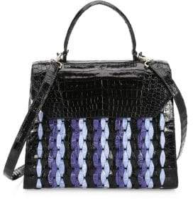 Nancy Gonzalez Large Lily Woven Top Handle Leather Bag