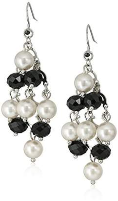 Silver Tone Simulated Black and Cream Pearl Kite Chandelier Drop Earrings