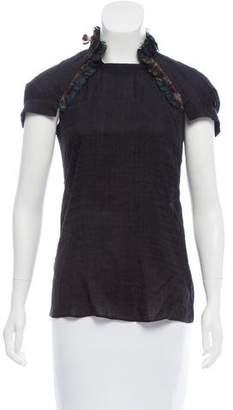 HUGO BOSS Boss by Silk-Blend Feather-Trimmed Top w/ Tags