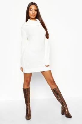 1895a4c5d6 boohoo Oversized Soft Knit Cowl Neck Jumper Dress