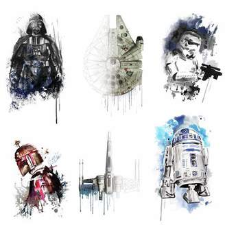 Star Wars RoomMates Iconic Watercolor Peel and Stick Wall Decals 2 Sheets