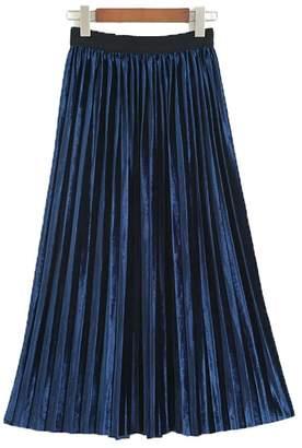 YOUMU Vintage Women A Line Pleated Velvet Skirt Flare Swing Midi Calf Dress