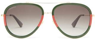 Gucci Aviator Acetate And Metal Sunglasses - Mens - Gold