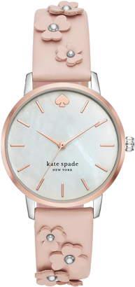 Kate Spade Metro Flower Leather Strap Watch, 34mm