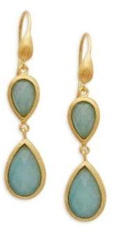 Rivka Friedman Blue Quartz Double Drop Earrings