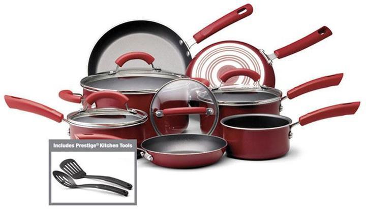 Farberware 13-pc. Enhanced Cookware Set, Red