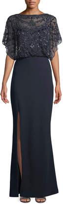 Aidan Mattox Embellished Split-Sleeve Gown