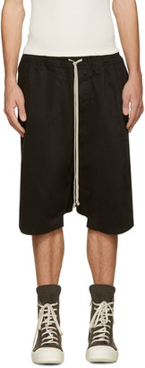 Rick Owens Drkshdw Black Twill Pods Shorts $535 thestylecure.com