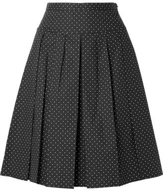 Michael Kors Pleated Polka-dot Stretch-cotton Poplin Skirt - Black
