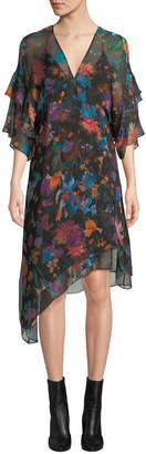 IRO Something V-Neck Tiered-Sleeve Floral-Print Silk Shift Dress