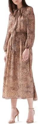 ML Monique Lhuillier Long Sleeve Midi Dress