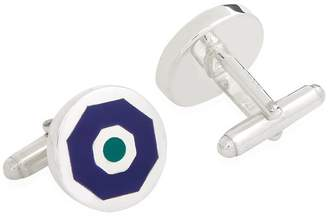 Carrs of Sheffield Silver Round Enamelled Sterling Silver Cufflinks