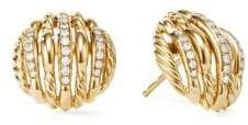 David Yurman Tides 18K Yellow Gold& Pave Diamond Stud Earrings
