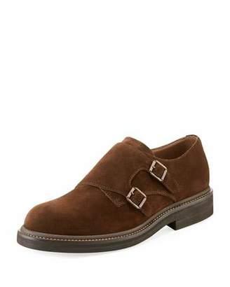 Brunello Cucinelli Men's Suede Double-Monk Shoes