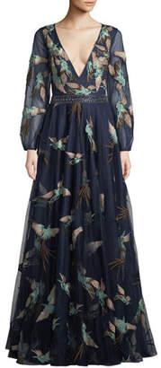 Jovani Embellished Gown w/ Bird Print