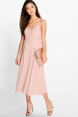 boohoo May Crochet Lace Top Chiffon Midi Dress
