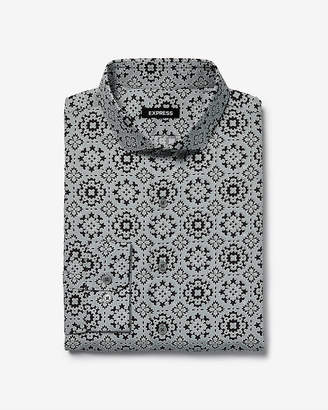 Express Extra Slim Geo Print Dress Shirt