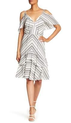 Sangria Striped Cold Shoulder Dress