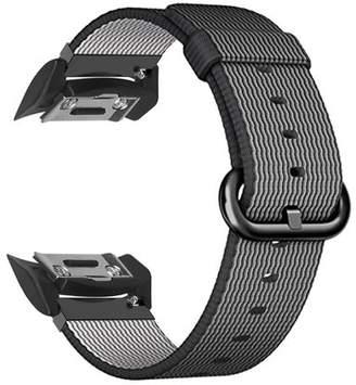 For Gear S2 Watch Band, Fintie Soft Woven Nylon Lightweight Sport Strap Bands SM-R720 / SM-R730 Smartwatch - Black