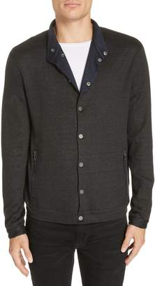 John Varvatos Snap Front Linen Blend Jacket