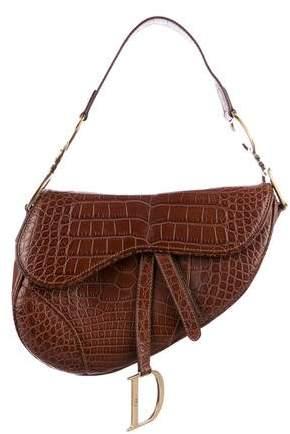 Christian Dior Crocodile Saddle Bag