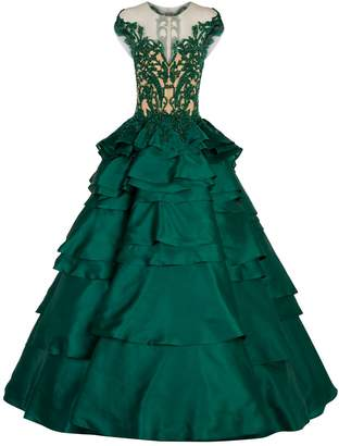 Mikael D Beaded Tiered High-Low Gown