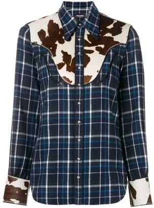 DSQUARED2 plaid shirt with contrasting patches