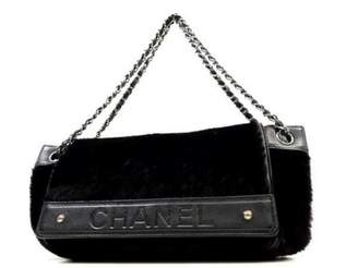 Chanel Black Fur Handbag
