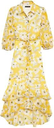 Banana Republic Floral Tiered Maxi Shirt Dress