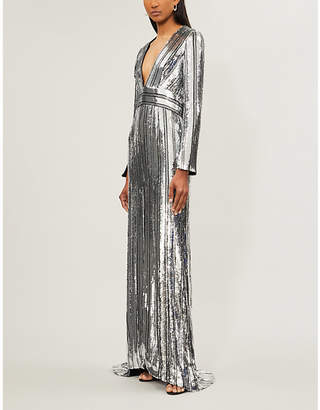 Galvan Stardust V-neck sequinned gown